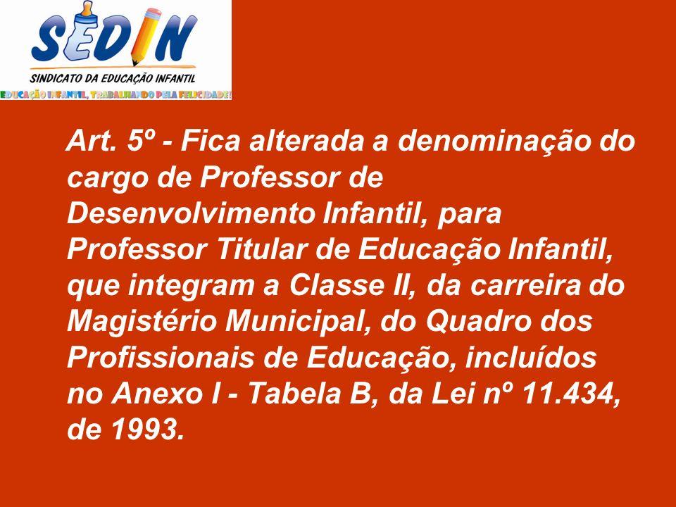 Art. 5º - Fica alterada a denominação do cargo de Professor de Desenvolvimento Infantil, para Professor Titular de Educação Infantil, que integram a C