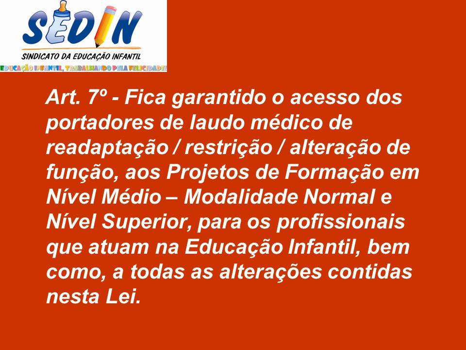 Art. 7º - Fica garantido o acesso dos portadores de laudo médico de readaptação / restrição / alteração de função, aos Projetos de Formação em Nível M