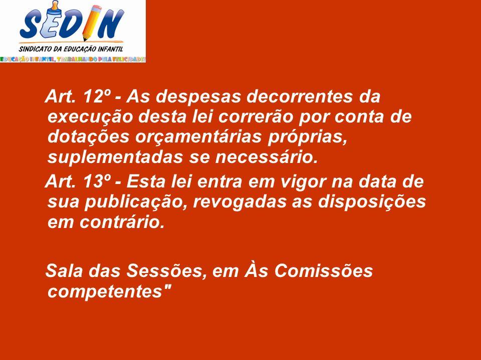 Art. 13º - Esta lei entra em vigor na data de sua publicação, revogadas as disposições em contrário. Sala das Sessões, em Às Comissões competentes