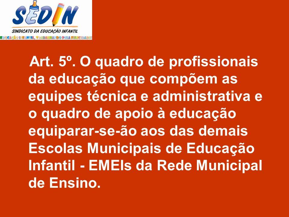 Art. 5º. O quadro de profissionais da educação que compõem as equipes técnica e administrativa e o quadro de apoio à educação equiparar-se-ão aos das