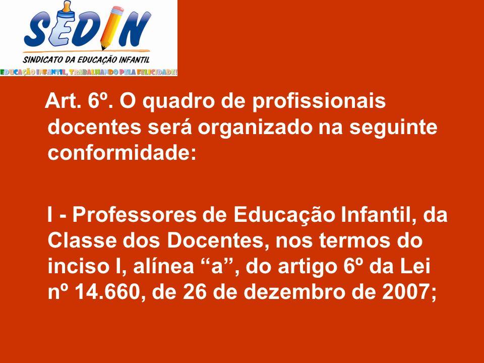 Art. 6º. O quadro de profissionais docentes será organizado na seguinte conformidade: I - Professores de Educação Infantil, da Classe dos Docentes, no