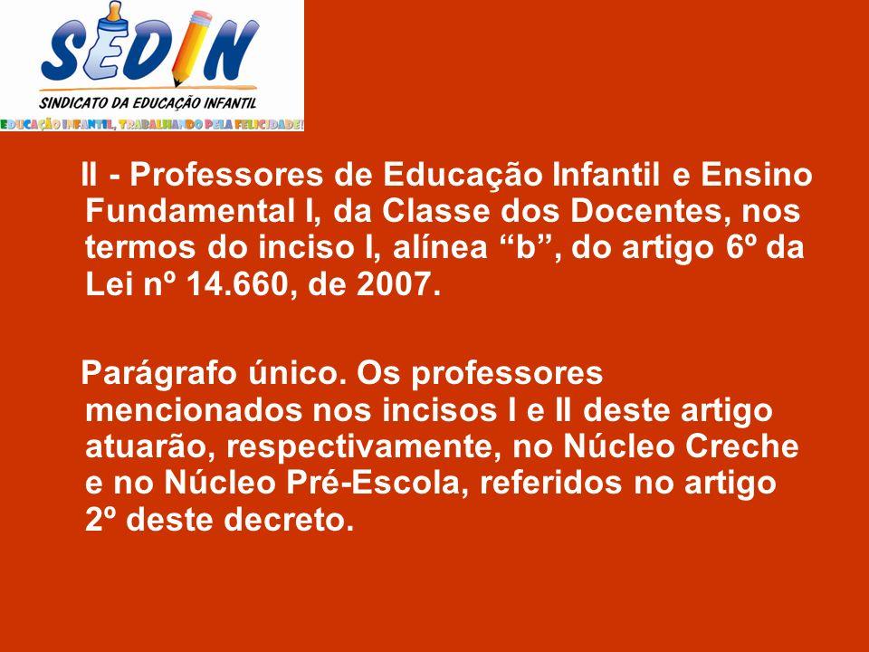 II - Professores de Educação Infantil e Ensino Fundamental I, da Classe dos Docentes, nos termos do inciso I, alínea b, do artigo 6º da Lei nº 14.660,