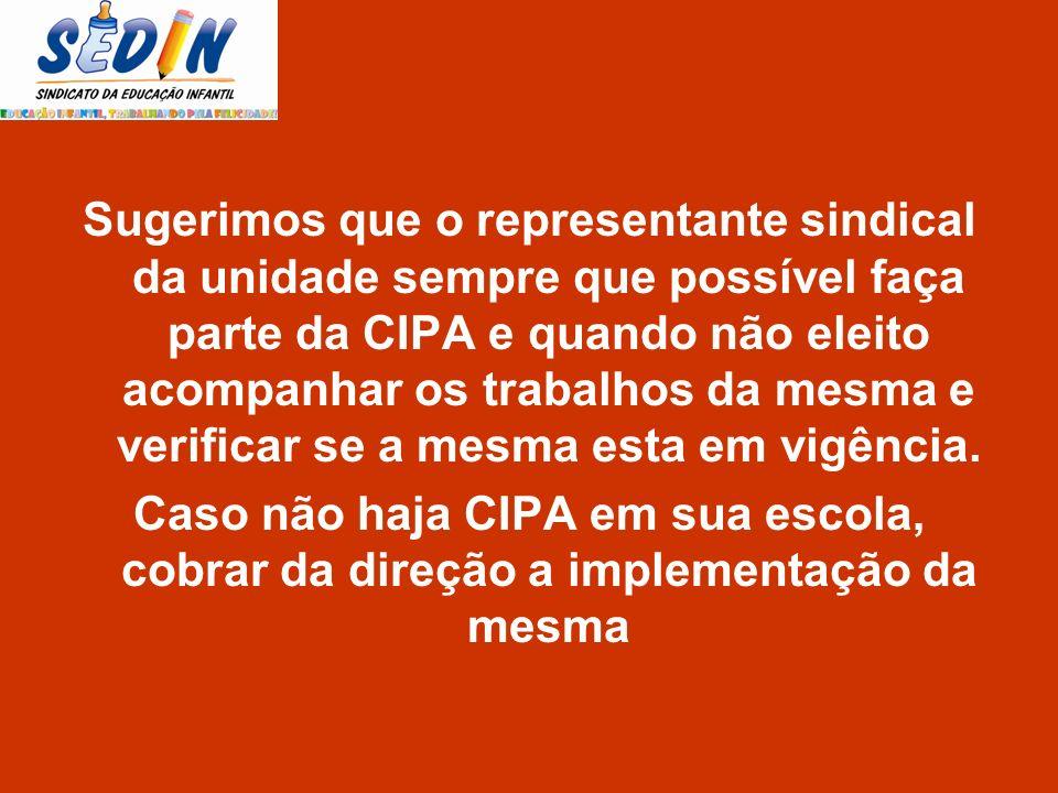 Sugerimos que o representante sindical da unidade sempre que possível faça parte da CIPA e quando não eleito acompanhar os trabalhos da mesma e verifi