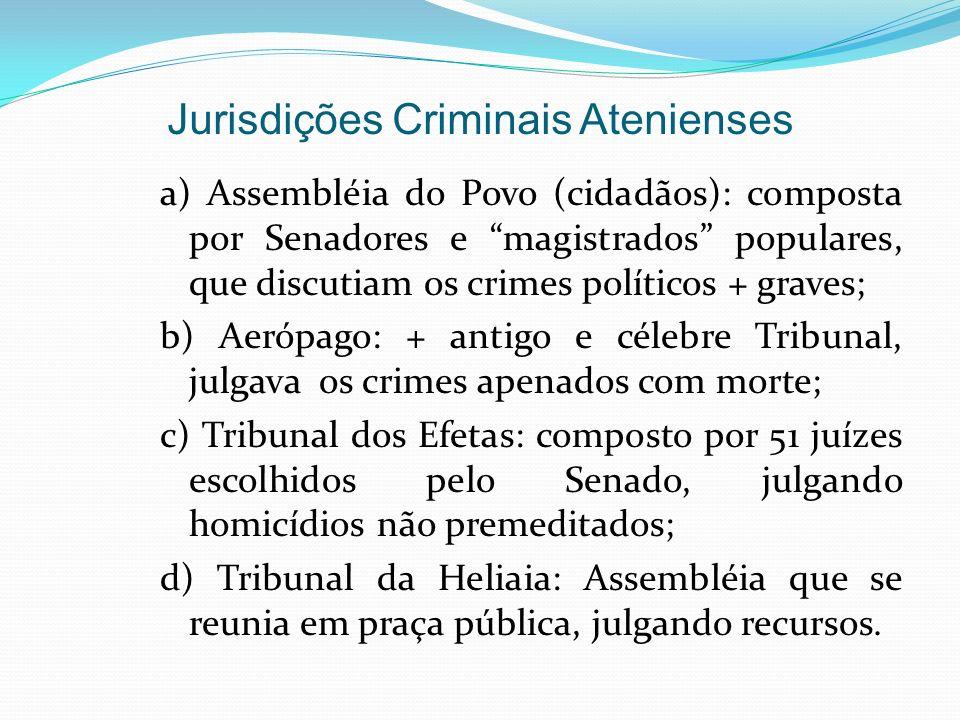 Jurisdições Criminais Atenienses a) Assembléia do Povo (cidadãos): composta por Senadores e magistrados populares, que discutiam os crimes políticos +