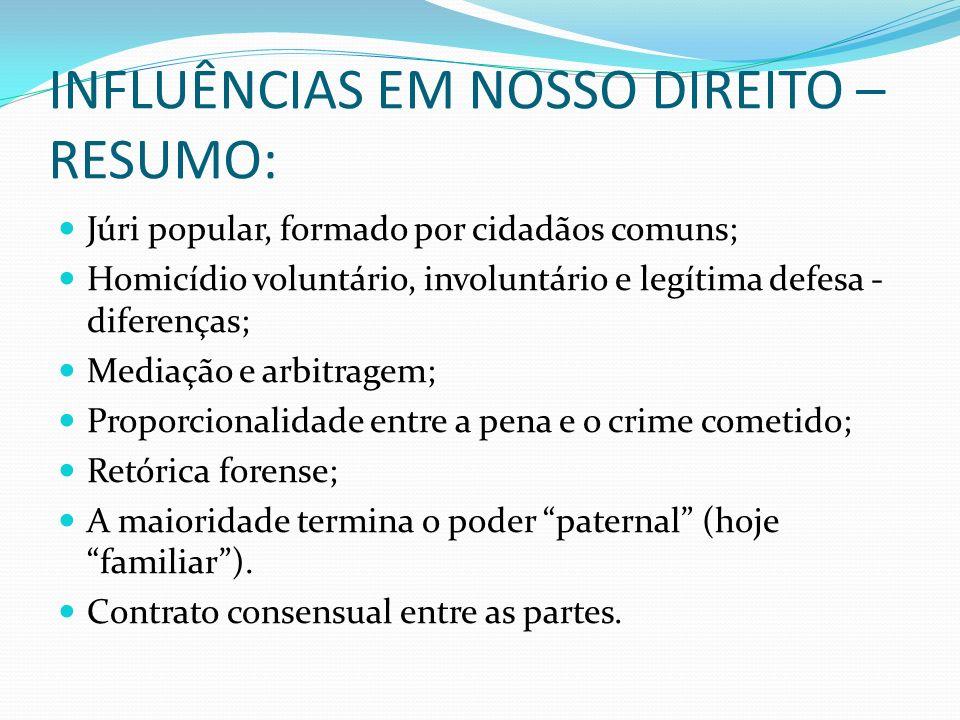 INFLUÊNCIAS EM NOSSO DIREITO – RESUMO: Júri popular, formado por cidadãos comuns; Homicídio voluntário, involuntário e legítima defesa - diferenças; M