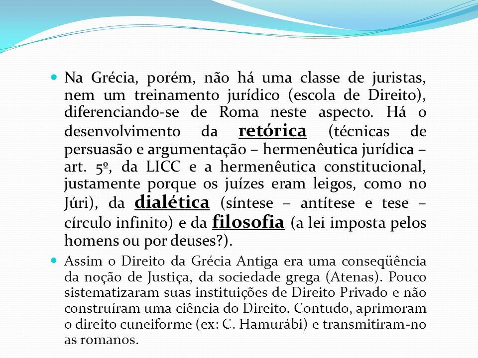 Na Grécia, porém, não há uma classe de juristas, nem um treinamento jurídico (escola de Direito), diferenciando-se de Roma neste aspecto. Há o desenvo