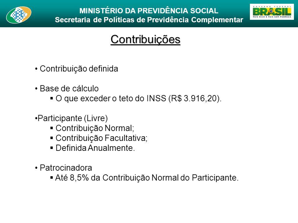 MINISTÉRIO DA PREVIDÊNCIA SOCIAL Secretaria de Políticas de Previdência Complementar Contribuições Contribuição definida Base de cálculo O que exceder