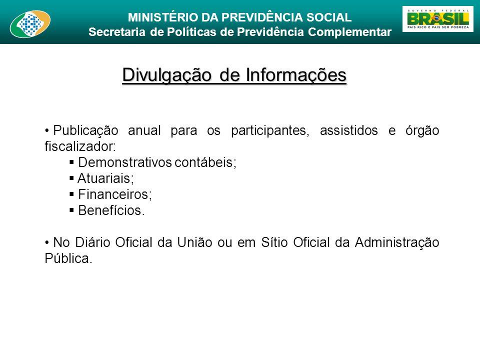 MINISTÉRIO DA PREVIDÊNCIA SOCIAL Secretaria de Políticas de Previdência Complementar Divulgação de Informações Publicação anual para os participantes,