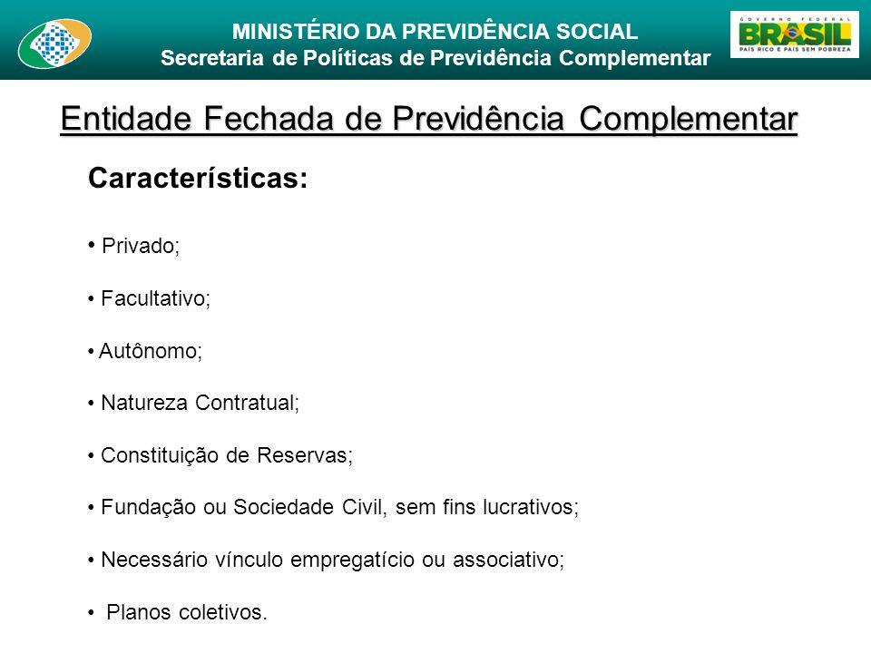 MINISTÉRIO DA PREVIDÊNCIA SOCIAL Secretaria de Políticas de Previdência Complementar Entidade Fechada de Previdência Complementar Características: Pri