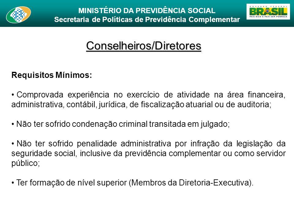 MINISTÉRIO DA PREVIDÊNCIA SOCIAL Secretaria de Políticas de Previdência Complementar Conselheiros/Diretores Requisitos Mínimos: Comprovada experiência