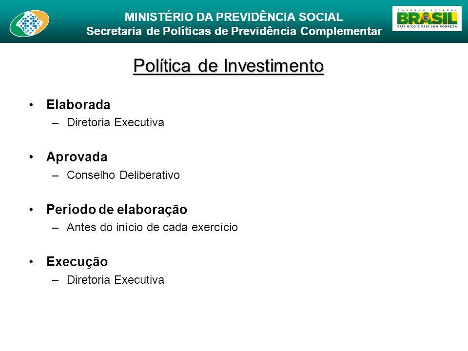 MINISTÉRIO DA PREVIDÊNCIA SOCIAL Secretaria de Políticas de Previdência Complementar Política de Investimento Elaborada –Diretoria Executiva Aprovada