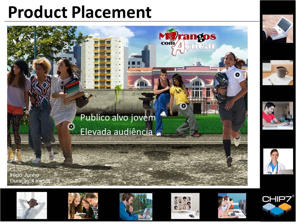 Product Placement Publico alvo jovem Elevada audiência Inicio: Junho Duração: 4 meses