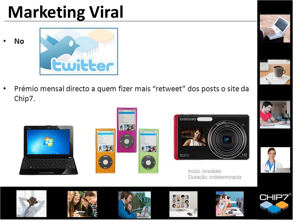 No Prémio mensal directo a quem fizer mais retweet dos posts o site da Chip7. Marketing Viral Inicio: imediato Duração: indeterminada