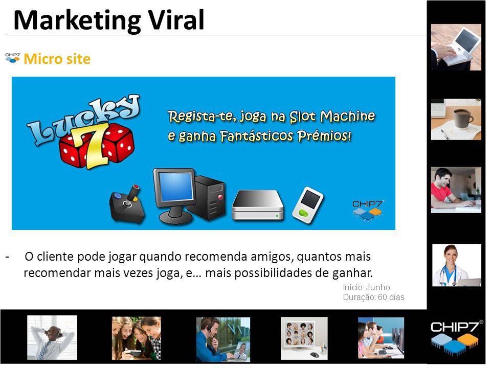 Micro site - O cliente pode jogar quando recomenda amigos, quantos mais recomendar mais vezes joga, e… mais possibilidades de ganhar. Marketing Viral