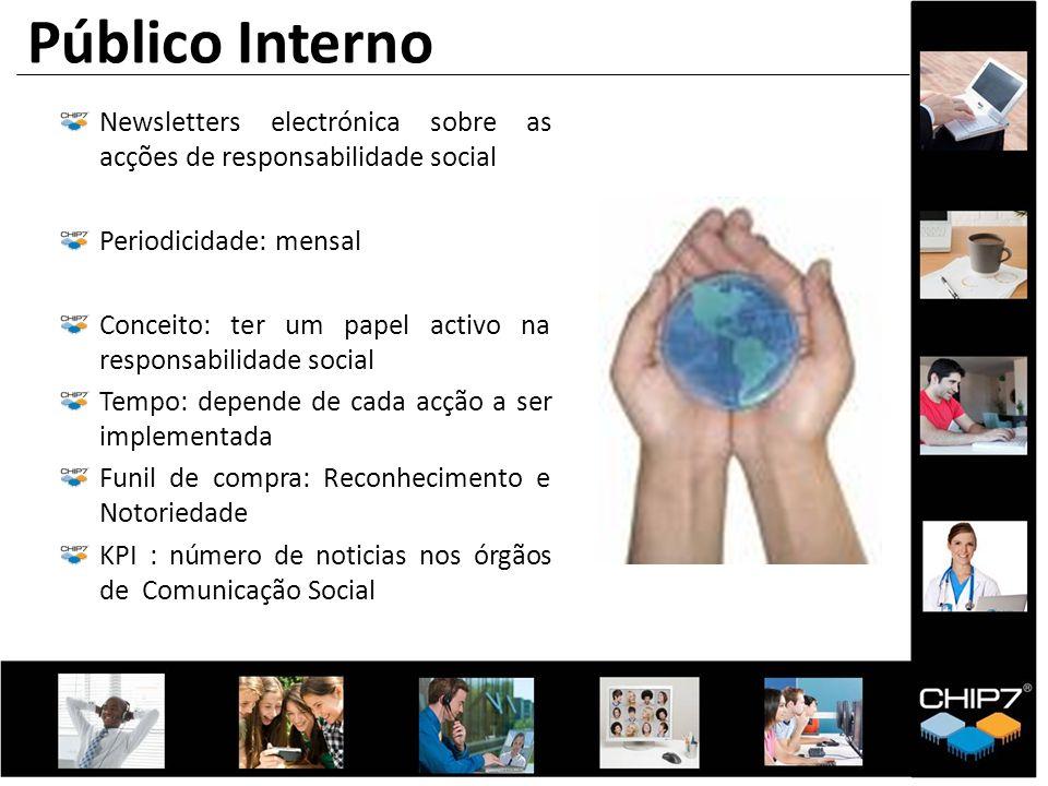 Newsletters electrónica sobre as acções de responsabilidade social Periodicidade: mensal Conceito: ter um papel activo na responsabilidade social Temp