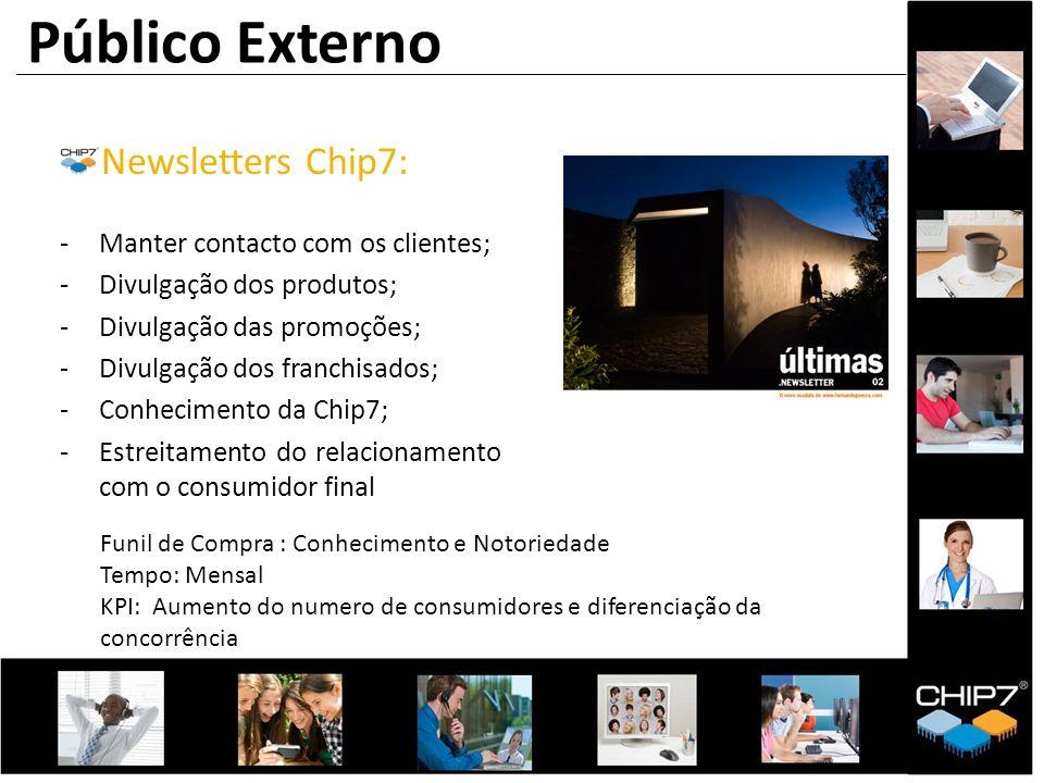 Público Externo Newsletters Chip7: -Manter contacto com os clientes; -Divulgação dos produtos; -Divulgação das promoções; -Divulgação dos franchisados