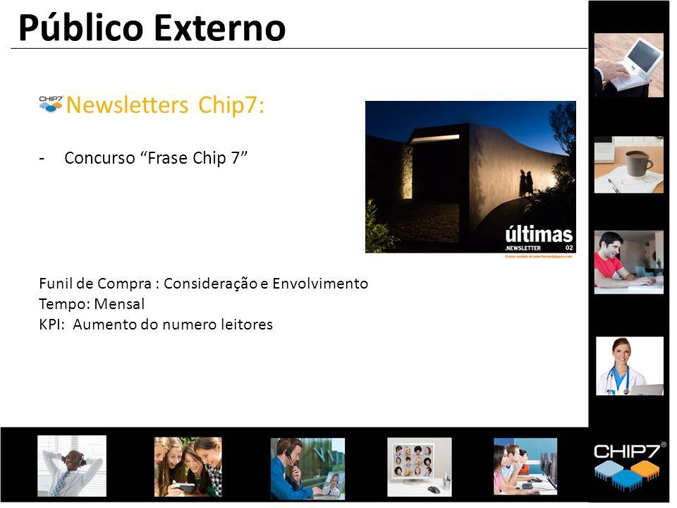 Público Externo Newsletters Chip7: -Concurso Frase Chip 7 Funil de Compra : Consideração e Envolvimento Tempo: Mensal KPI: Aumento do numero leitores