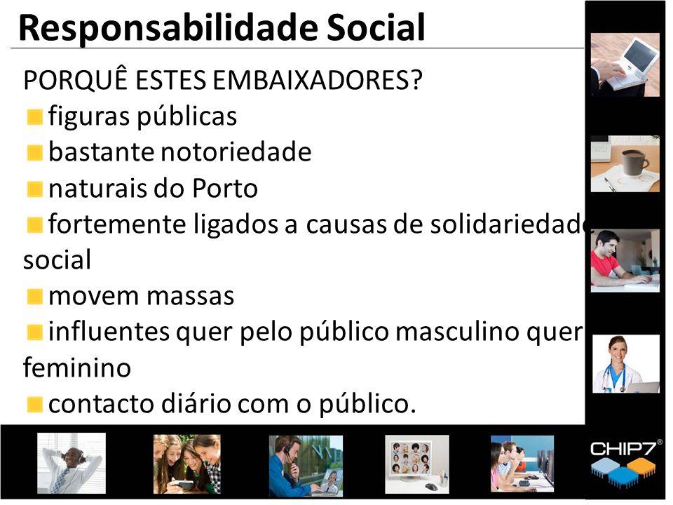PORQUÊ ESTES EMBAIXADORES? figuras públicas bastante notoriedade naturais do Porto fortemente ligados a causas de solidariedade social movem massas in