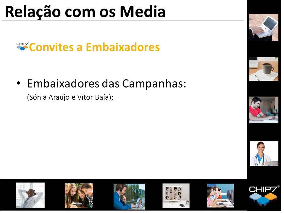 Convites a Embaixadores Embaixadores das Campanhas: (Sónia Araújo e Vítor Baía); Relação com os Media