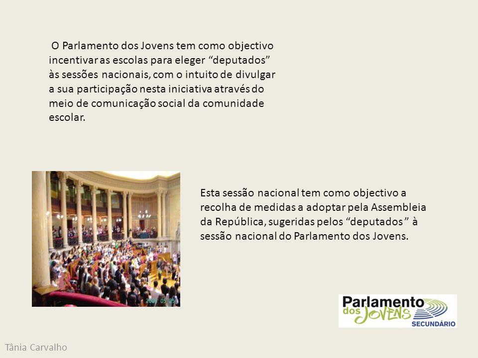 Tânia Carvalho O tema escolhido para a sessão do presente ano, pela organização do Parlamento dos Jovens foi a Participação Cívica dos Jovens.