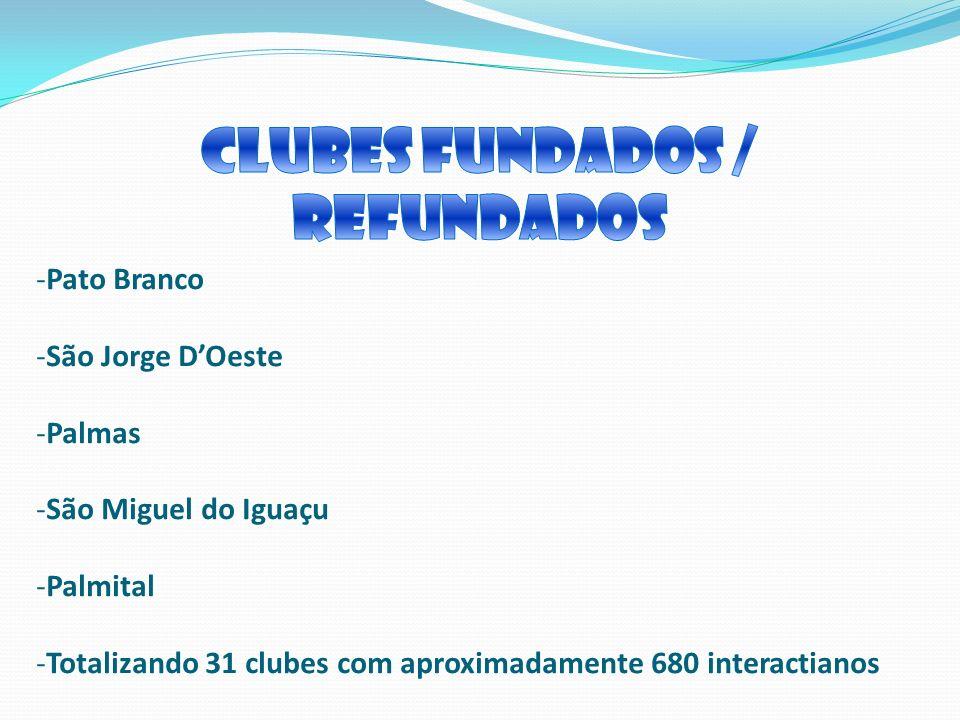 -Pato Branco -São Jorge DOeste -Palmas -São Miguel do Iguaçu -Palmital -Totalizando 31 clubes com aproximadamente 680 interactianos
