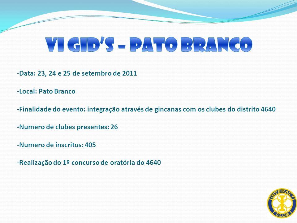 -Data: 23, 24 e 25 de setembro de 2011 -Local: Pato Branco -Finalidade do evento: integração através de gincanas com os clubes do distrito 4640 -Numer