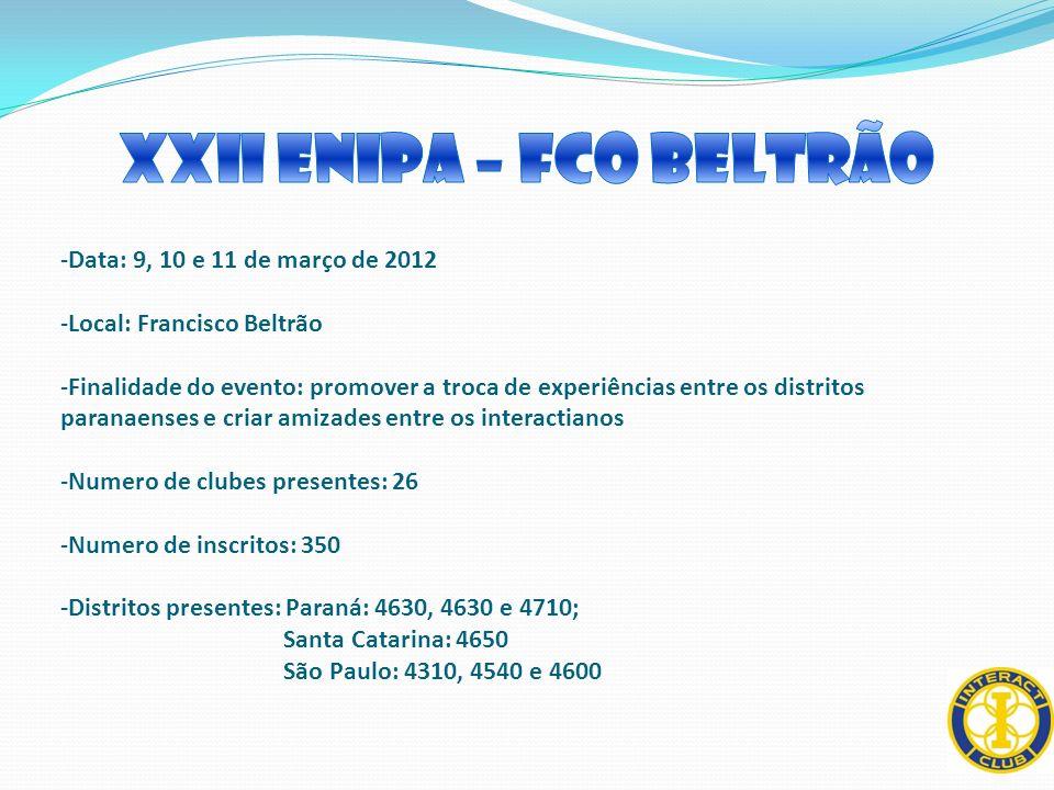 -Data: 9, 10 e 11 de março de 2012 -Local: Francisco Beltrão -Finalidade do evento: promover a troca de experiências entre os distritos paranaenses e