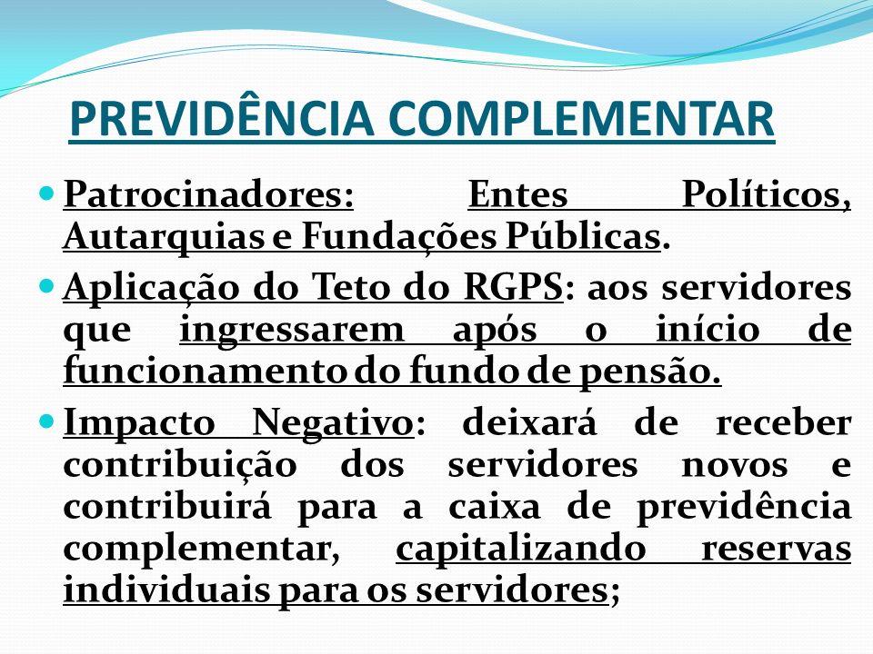 PREVIDÊNCIA COMPLEMENTAR Patrocinadores: Entes Políticos, Autarquias e Fundações Públicas. Aplicação do Teto do RGPS: aos servidores que ingressarem a