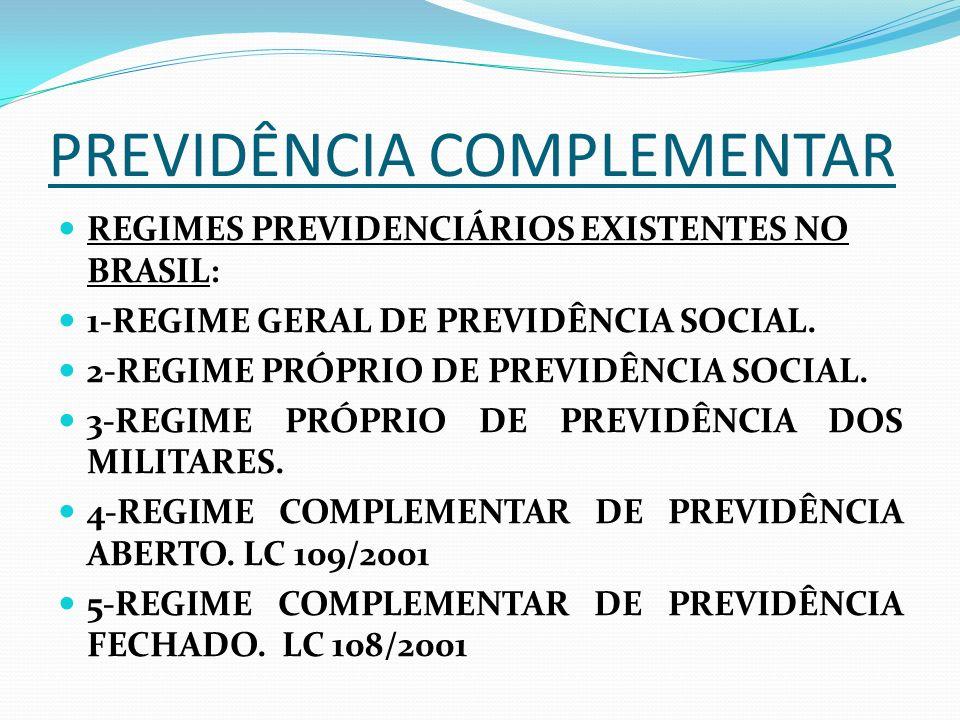 REGIMES PREVIDENCIÁRIOS EXISTENTES NO BRASIL: 1-REGIME GERAL DE PREVIDÊNCIA SOCIAL. 2-REGIME PRÓPRIO DE PREVIDÊNCIA SOCIAL. 3-REGIME PRÓPRIO DE PREVID