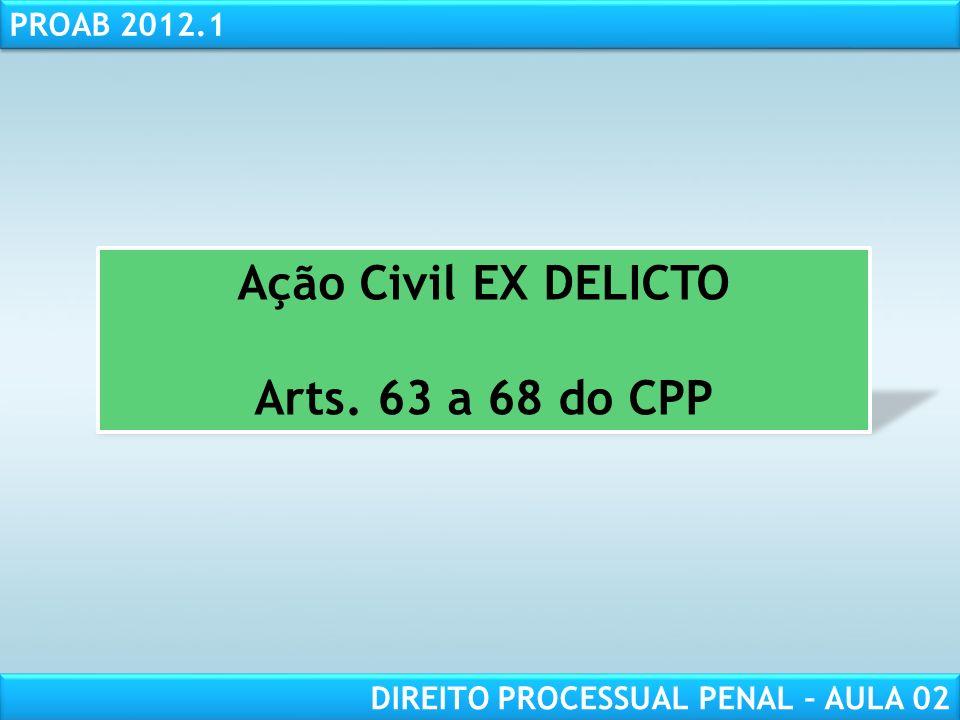 RESPONSABILIDADE CIVIL AULA 1 PROAB 2012.1 DIREITO PROCESSUAL PENAL – AULA 02 REGRA GERAL: art.