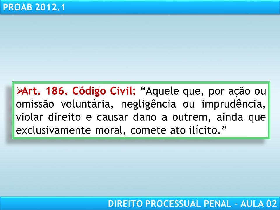 RESPONSABILIDADE CIVIL AULA 1 PROAB 2012.1 DIREITO PROCESSUAL PENAL – AULA 02 Juizado especial criminal - art.