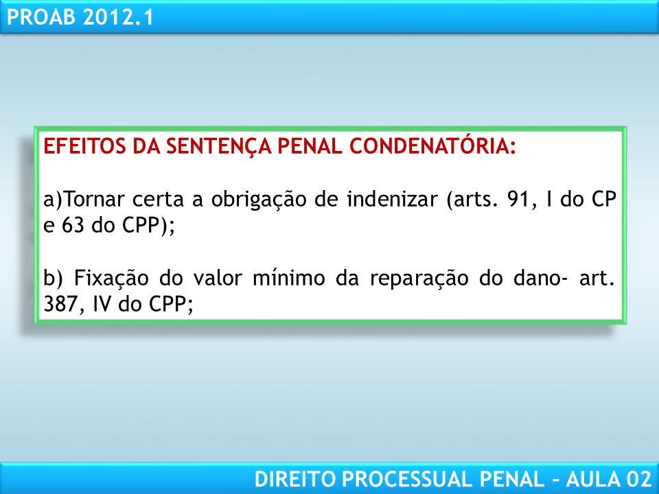 RESPONSABILIDADE CIVIL AULA 1 PROAB 2012.1 DIREITO PROCESSUAL PENAL – AULA 02 Art.