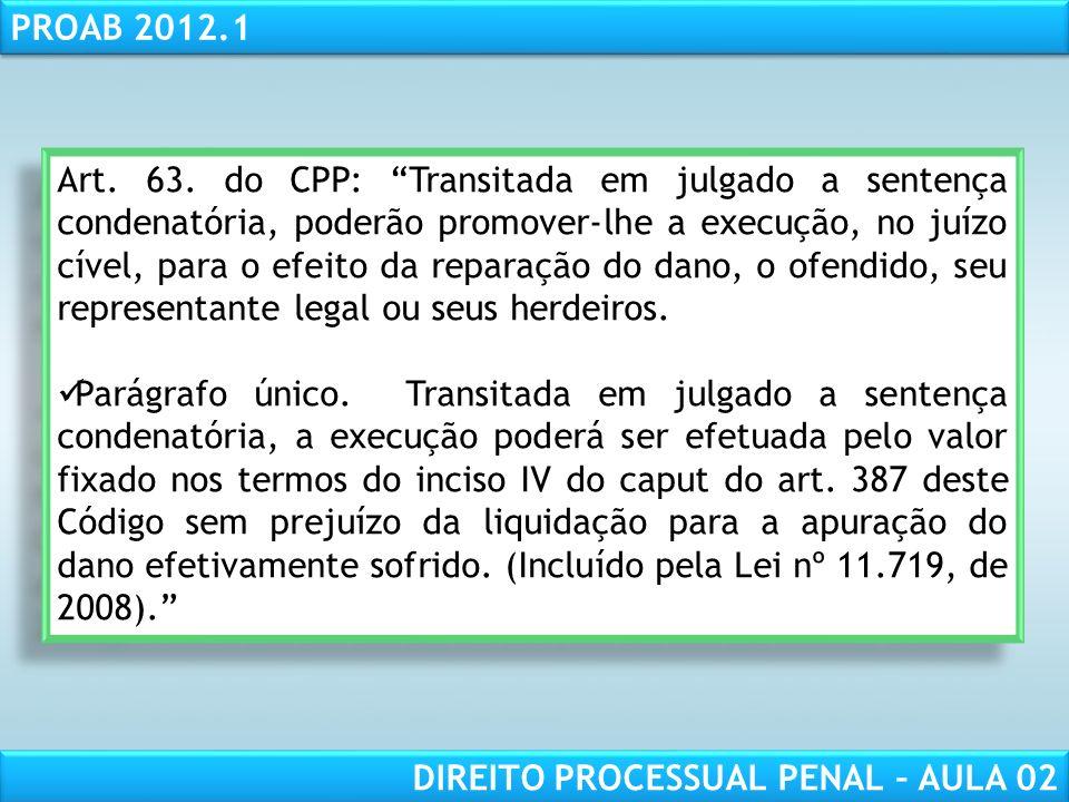 RESPONSABILIDADE CIVIL AULA 1 PROAB 2012.1 DIREITO PROCESSUAL PENAL – AULA 02 a) preponderará a do lugar da infração, à qual for cominada a pena mais grave; b) prevalecerá a do lugar em que houver ocorrido o maior número de infrações, se as respectivas penas forem de igual gravidade; c) firmar-se-á a competência pela prevenção, nos outros casos III - no concurso de jurisdições de diversas categorias, predominará a de maior graduação; IV - no concurso entre a jurisdição comum e a especial, prevalecerá esta.