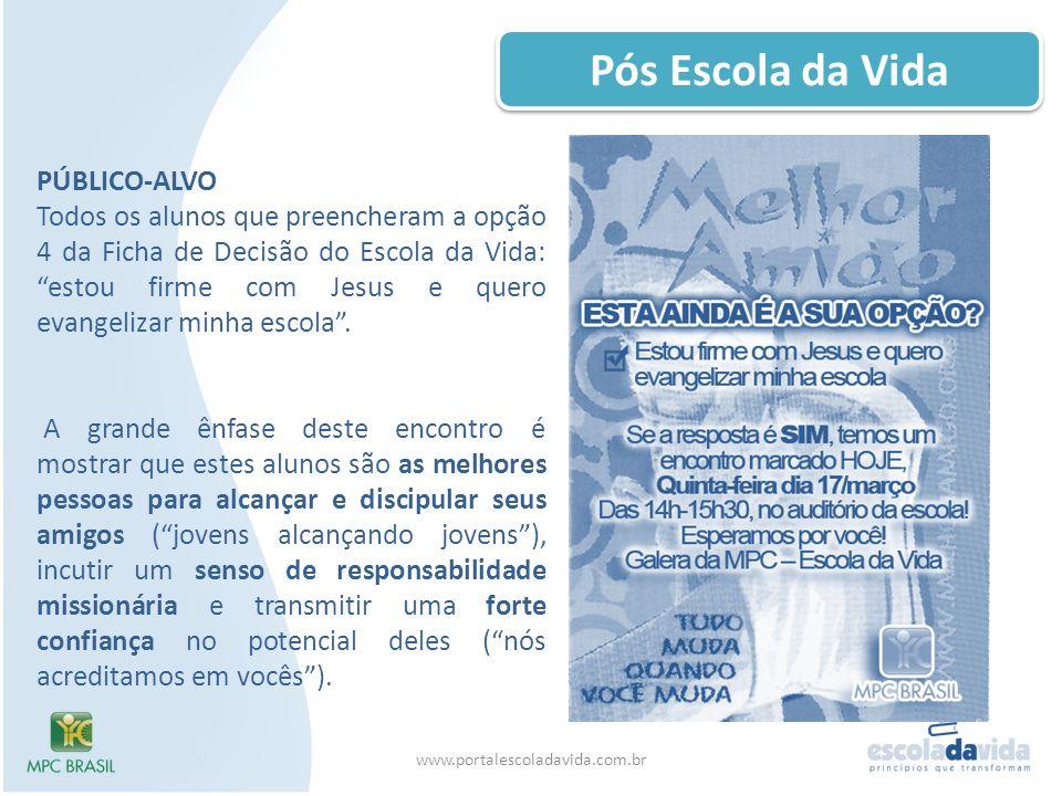 Pós Escola da Vida www.portalescoladavida.com.br PÚBLICO-ALVO Todos os alunos que preencheram a opção 4 da Ficha de Decisão do Escola da Vida: estou f