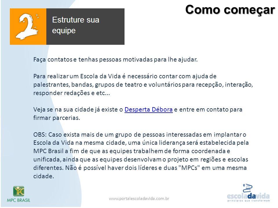 Como começar www.portalescoladavida.com.br Faça contatos e tenhas pessoas motivadas para lhe ajudar. Para realizar um Escola da Vida é necessário cont
