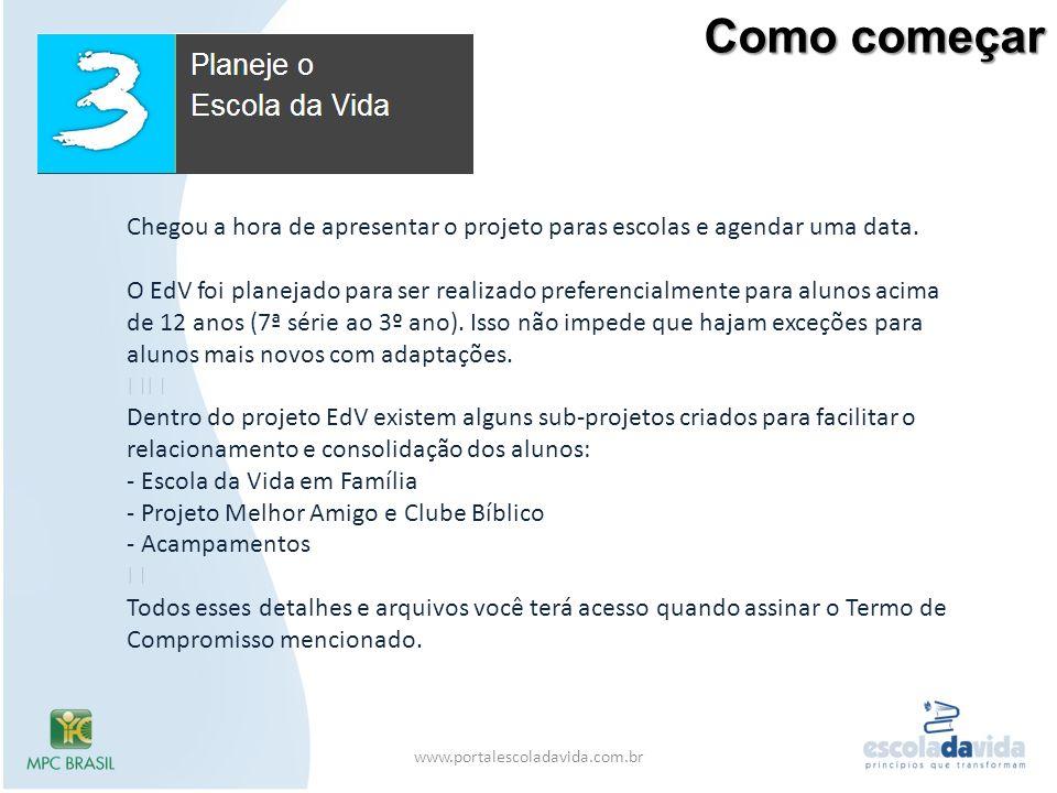 Como começar www.portalescoladavida.com.br Chegou a hora de apresentar o projeto paras escolas e agendar uma data. O EdV foi planejado para ser realiz