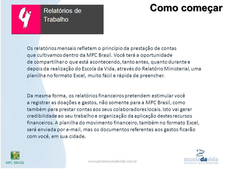 Como começar www.portalescoladavida.com.br Os relatórios mensais refletem o princípio da prestação de contas que cultivamos dentro da MPC Brasil. Você