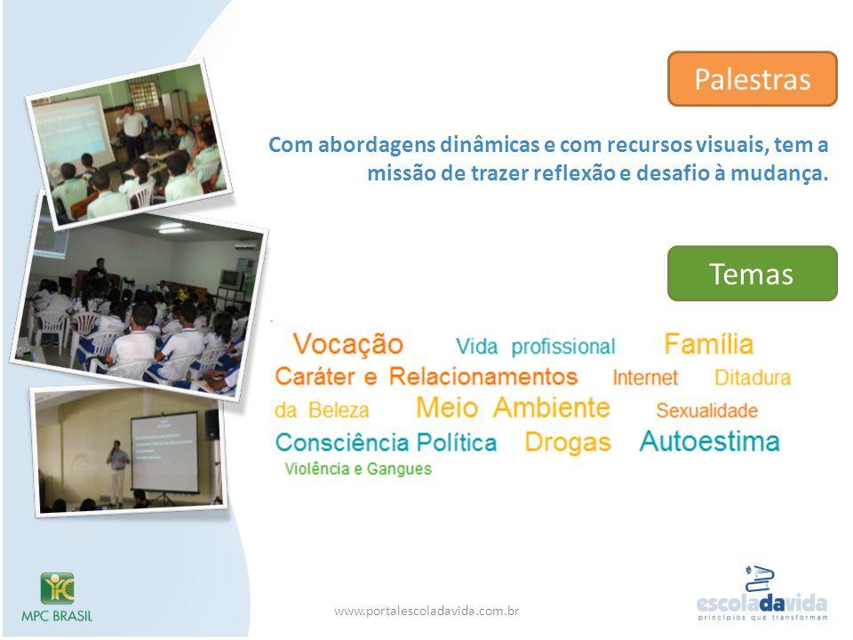Com abordagens dinâmicas e com recursos visuais, tem a missão de trazer reflexão e desafio à mudança. Palestras Temas www.portalescoladavida.com.br