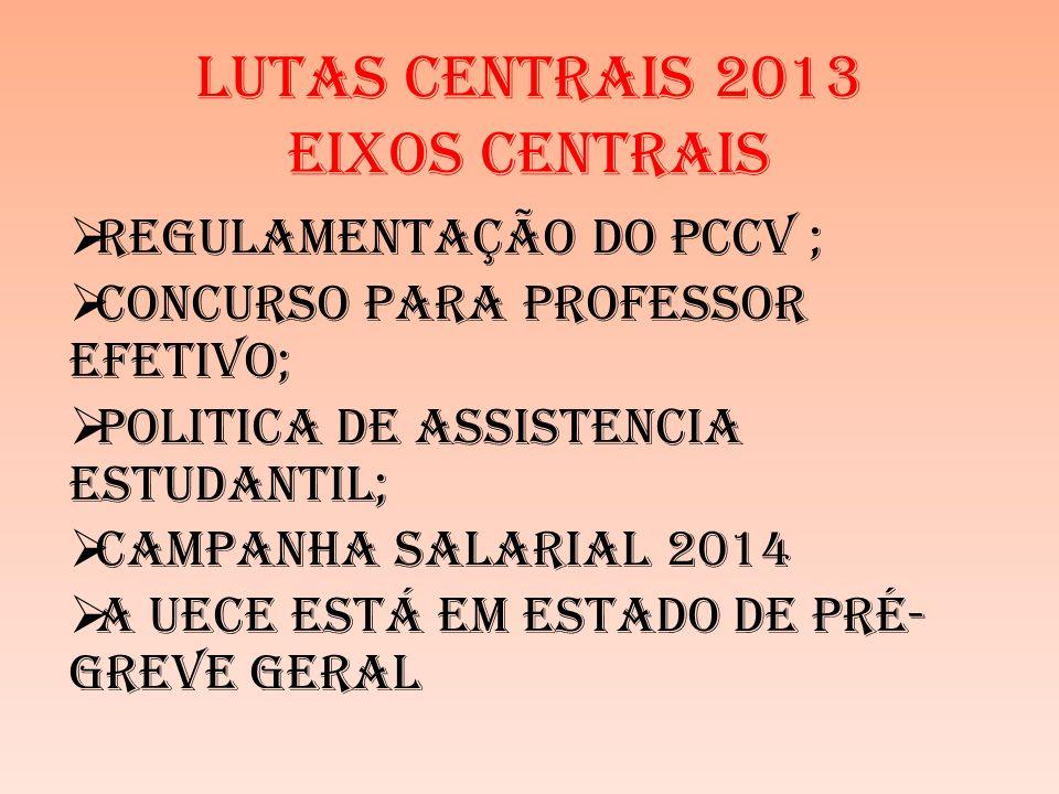 LUTAS CENTRAIS 2013 EIXOS CENTRAIS REGULAMENTAÇÃO DO PCCV ; CONCURSO PARA PROFESSOR EFETIVO; POLITICA DE ASSISTENCIA ESTUDANTIL; CAMPANHA SALARIAL 2014 A UECE ESTÁ EM ESTADO DE PRÉ- GREVE GERAL