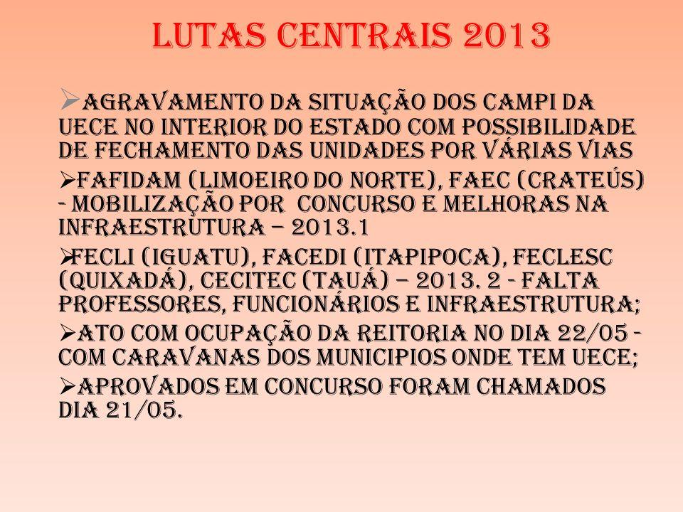 LUTAS CENTRAIS 2013 Agravamento Da Situação Dos Campi Da Uece No Interior Do Estado COM POSSIBILIDADE DE FECHAMENTO DAS UNIDADES POR VÁRIAS VIAS Fafidam (Limoeiro Do Norte), Faec (Crateús) - MOBILIZAÇÃO POR CONCURSO E MELHORAS NA INFRAESTRUTURA – 2013.1 Fecli (Iguatu), Facedi (Itapipoca), FecLesc (Quixadá), Cecitec (Tauá) – 2013.