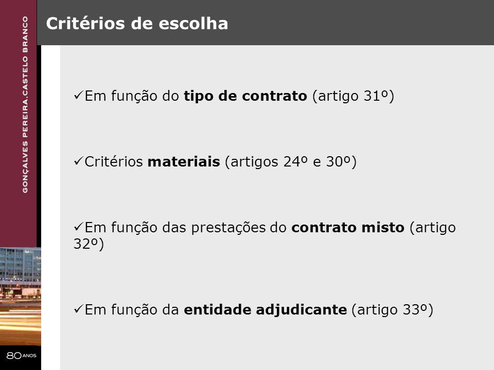 Critérios de escolha Em função do tipo de contrato (artigo 31º) Critérios materiais (artigos 24º e 30º) Em função das prestações do contrato misto (ar