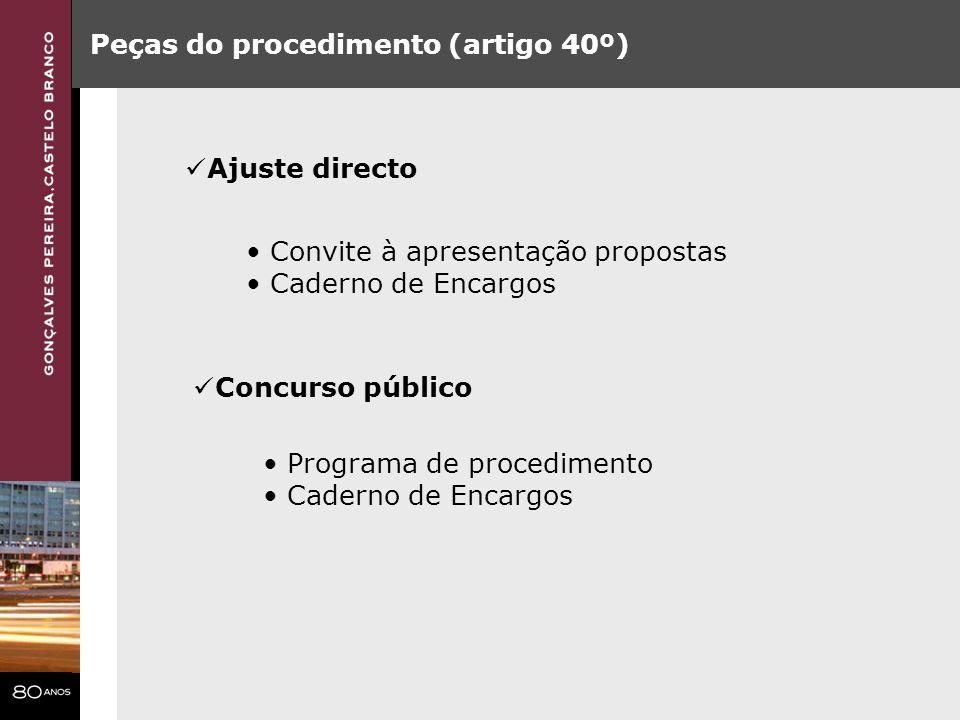 Peças do procedimento (artigo 40º) Ajuste directo Convite à apresentação propostas Caderno de Encargos Concurso público Programa de procedimento Cader