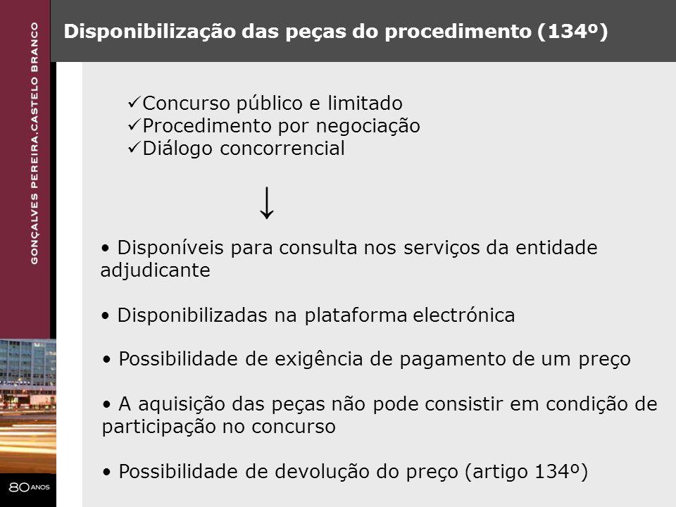 Disponibilização das peças do procedimento (134º) Disponíveis para consulta nos serviços da entidade adjudicante Disponibilizadas na plataforma electr