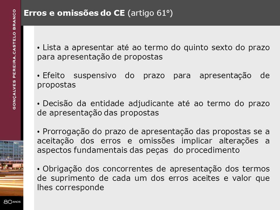 Erros e omissões do CE (artigo 61 º ) Lista a apresentar at é ao termo do quinto sexto do prazo para apresenta ç ão de propostas Efeito suspensivo do