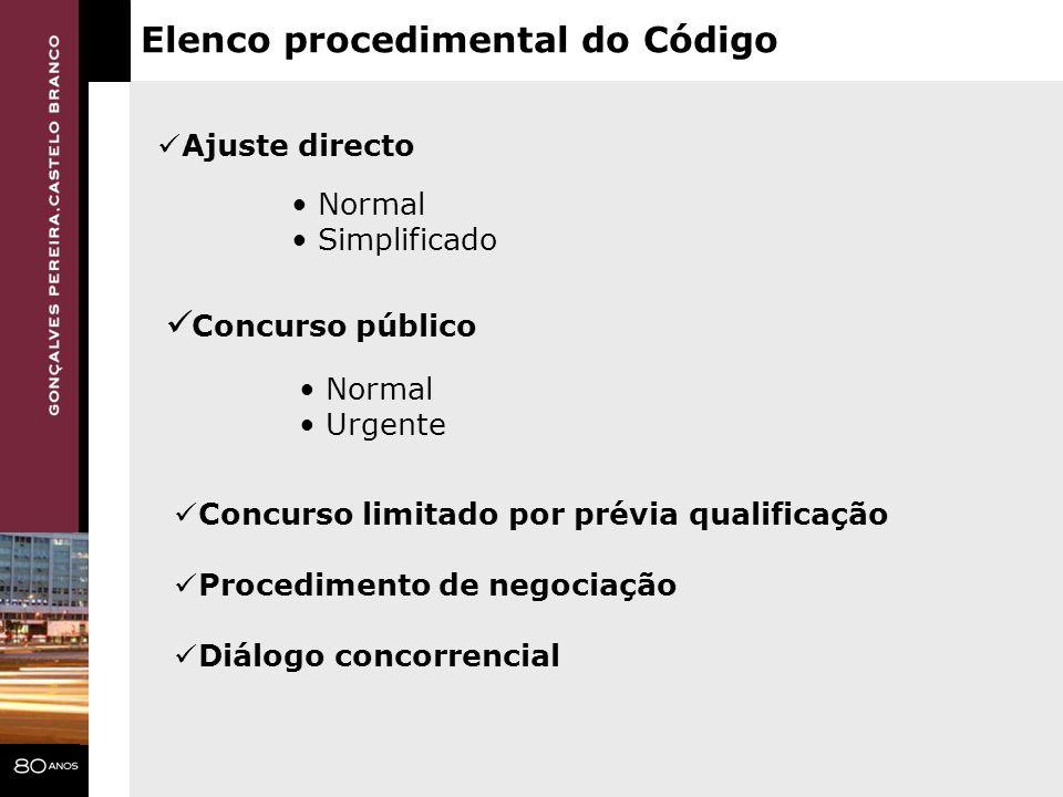 Elenco procedimental do Código Concurso público Concurso limitado por prévia qualificação Procedimento de negociação Diálogo concorrencial Normal Urge