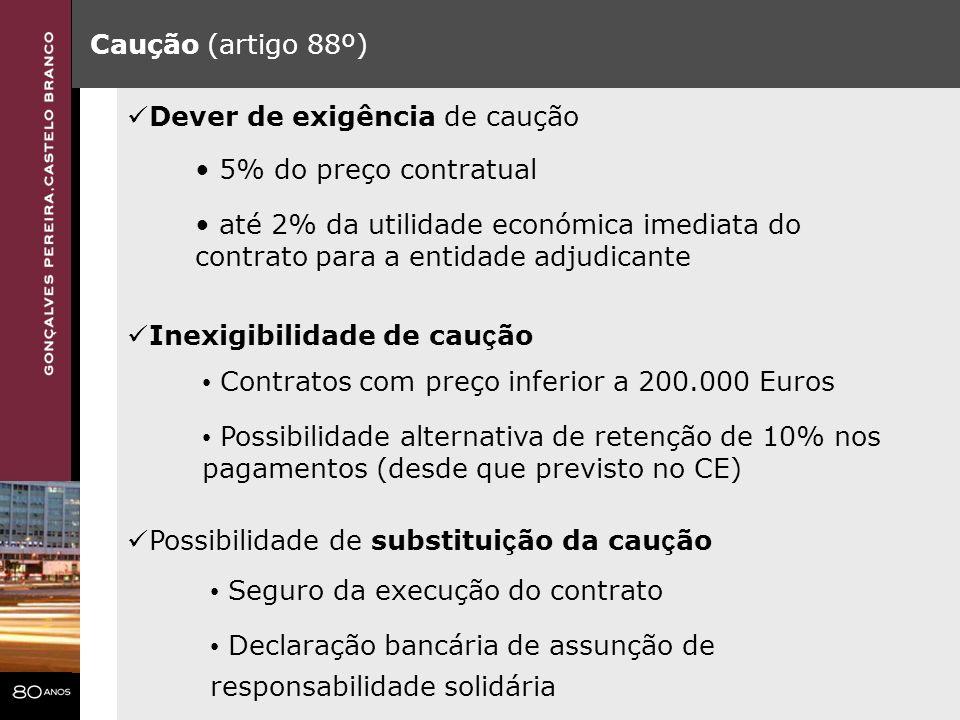 Caução (artigo 88º) Inexigibilidade de cau ç ão Contratos com preço inferior a 200.000 Euros Possibilidade alternativa de retenção de 10% nos pagament