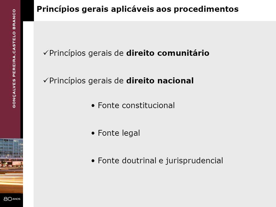 Princípios gerais aplicáveis aos procedimentos Princípios gerais de direito comunitário Princípios gerais de direito nacional Fonte constitucional Fon