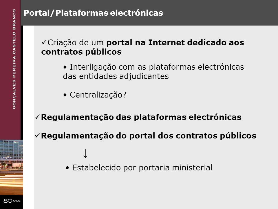 Portal/Plataformas electrónicas Regulamentação das plataformas electrónicas Regulamentação do portal dos contratos públicos Estabelecido por portaria