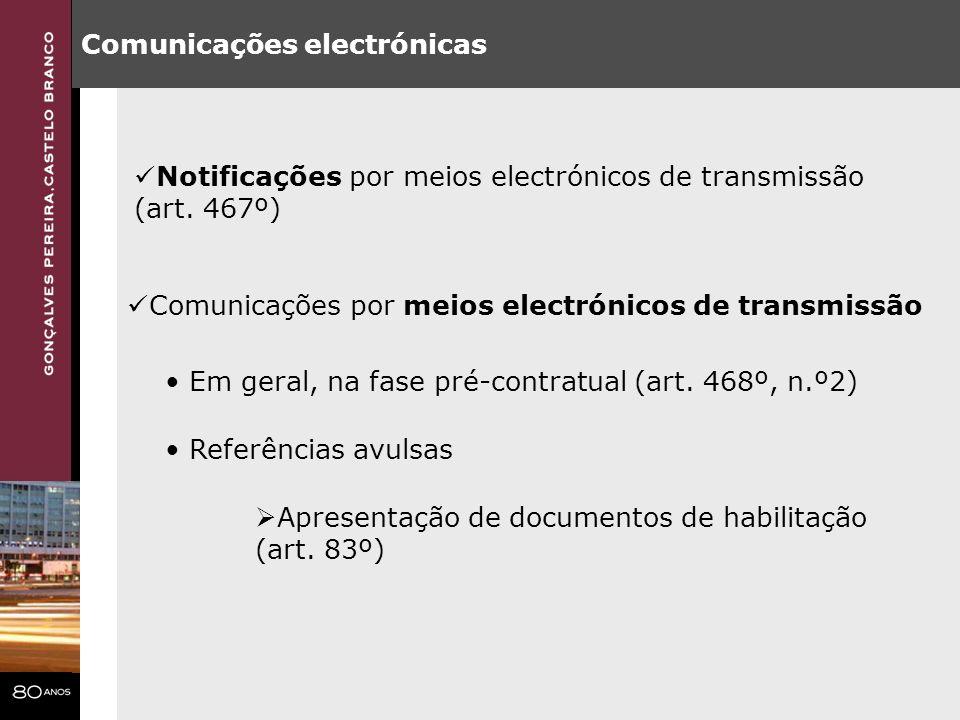 Comunicações electrónicas Comunicações por meios electrónicos de transmissão Em geral, na fase pré-contratual (art. 468º, n.º2) Referências avulsas Ap