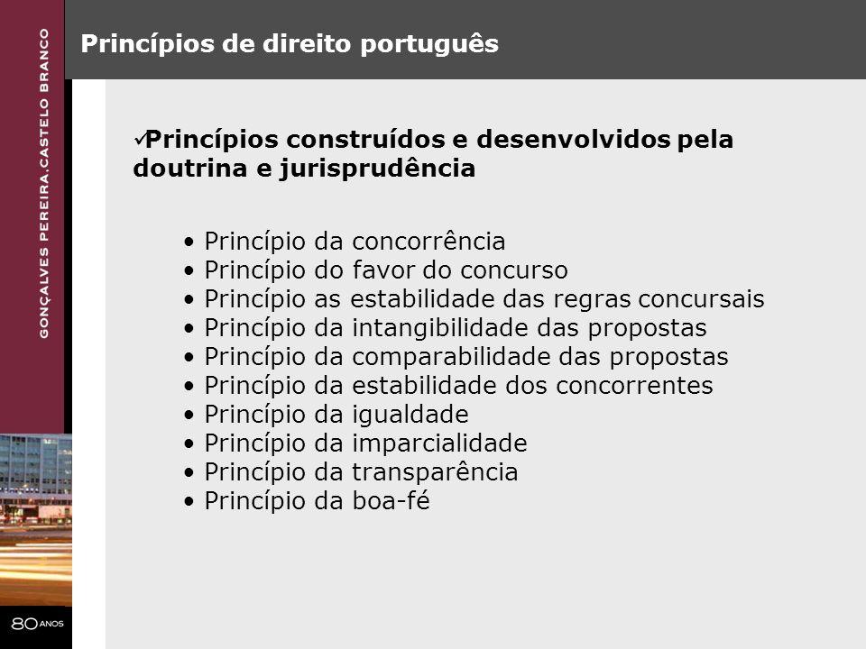 Princípios de direito português Princípios construídos e desenvolvidos pela doutrina e jurisprudência Princípio da concorrência Princípio do favor do
